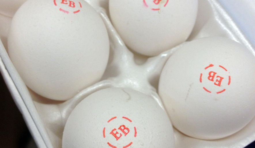 FILE - This Nov. 25, 2014, file photo, shows eggs for sale in a Des Moines, Iowa, grocery store. Prices for eggs and turkey meat are edging up as the bird flu in the Midwest claims an increasing number of chickens and turkeys. (AP Photo/Charlie Neibergall)
