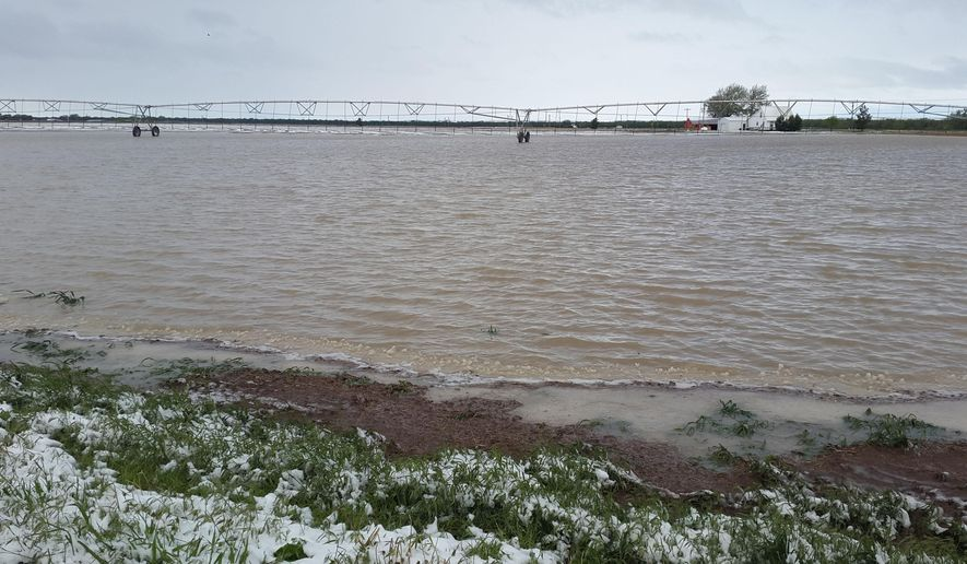 In this Saturday, May 9, 2015 photo, an agricultural is field is flooded north of Hillrose, Colo. A storm pounded the area with more than four inches of rain and six inches of snow. (Julie Tonsing/The Fort Morgan Times via AP) MANDATORY CREDIT