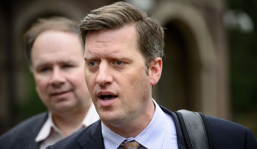 Minnesota House Speaker Kurt Daudt enters the Governor's residence for budget negotiations through the front main gate and speaks to the media, Tuesday, May 12, 2015 in St. Paul, Minn.  Behind him is House Ways and Means Committee Chairman Jim Knoblach. Minnesota budget negotiations entered a holding pattern Tuesday, with each side urging the other to take the first step to bridge an enormous divide over tax cuts and transportation funding that has narrowed little through days of private meetings. (Glen Stubbe/Star Tribune via AP)  MANDATORY CREDIT; ST. PAUL PIONEER PRESS OUT; MAGS OUT; TWIN CITIES LOCAL TELEVISION OUT