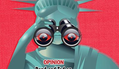 National Edition Opinion cover for May 14, 2015 - Rand and Ted on the Fourth Amendment (Illustration by Linas Garsys for The Washington Times)