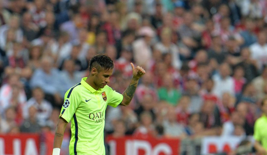 Barcelona's Neymar reacts during the soccer Champions League second leg semifinal match between Bayern Munich and FC Barcelona at Allianz Arena in Munich, southern Germany, Tuesday, May 12, 2015. (AP Photo/Kerstin Joensson)