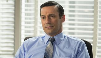 "This image released by AMC shows Jon Hamm as Don Draper in a scene from the final season of ""Mad Men."" The series finale airs on Sunday. (Justina Mintz/AMC via AP)"