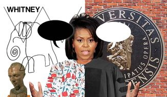 Illustration contrasting the content of two recent addresses by Michelle Obama by Alexander Hunter/The Washington Times