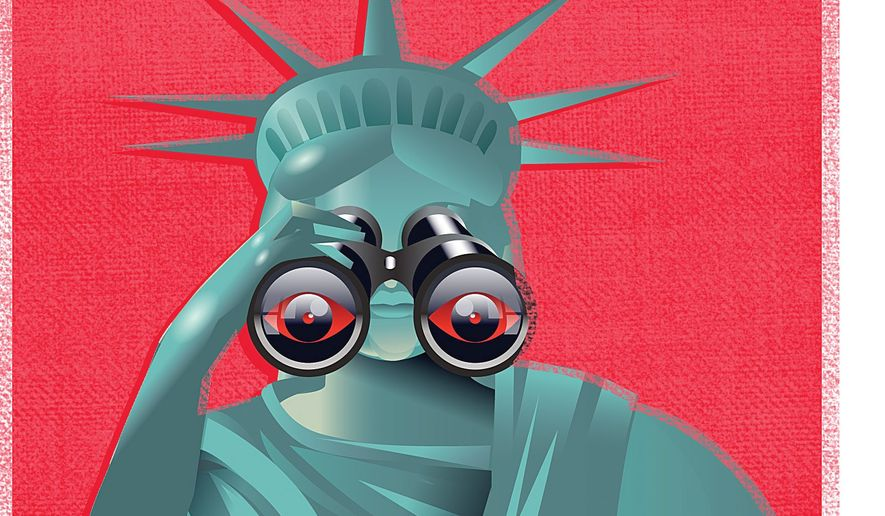 Illustration on the continued erosion of liberty under the Freedom Act by Linas Garsys/The Washington Times