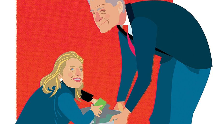 Illustration on the Clintons' suspected pay-for-play activities by Linas Garsys/The Washington Times