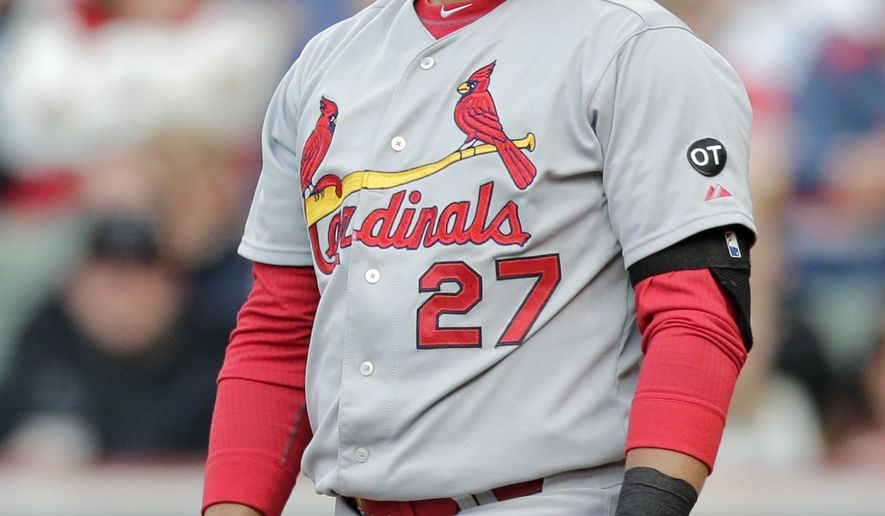 St. Louis Cardinals' Jhonny Peralta reacts after striking out against Cleveland Indians starting pitcher Corey Kluber in the fourth inning of a baseball game, Wednesday, May 13, 2015, in Cleveland. (AP Photo/Tony Dejak)