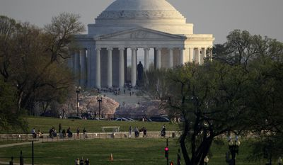 The Jefferson Memorial is seen from the White House, Thursday, March 22, 2012, in Washington. (AP Photo/Carolyn Kaster)