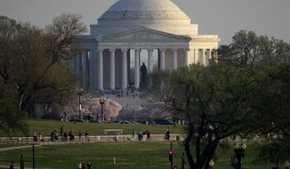 The Jefferson Memorial is seen from the White House, Thursday, March 22, 2012, in Washington. (AP Photo/Carolyn Kaster) ** FILE **