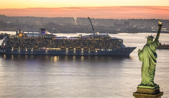 The world's first smartship, Quantum of the Seas, sails into New York Harbor. (PRNewsFoto/Royal Caribbean International) THIS CONTENT IS PROVIDED BY PRNewsfoto and is for EDITORIAL USE ONLY**