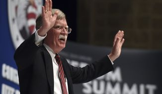Former United Nations Ambassador John Bolton speaks during the Freedom Summit the Freedom Summit in Greenville, S.C., on May 9, 2015. (Associated Press) **FILE**