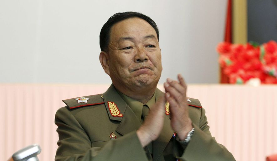 North Korean leader Kim Jong-un is said to have killed People's Armed Forces Minister Hyon Yong Chol, shown in this July 18, 2012, photo when he was the nation's Vice Marshal. (Associated Press) ** FILE **