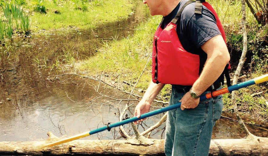 In this photo taken Thursday, May 7, 2015, Mark Ducharme, of the Michigan Department of Environmental Quality, shows where some oil remains in the ground in a wetland next to the Kalamazoo River in Calhoun County, Mich. An Enbridge Inc. pipeline ruptured in 2010, spilling more than 800,000 gallons of crude oil into Talmadge Creek and the river. The state of Michigan and Enbridge Energy have filed a settlement related to the spill. Enbridge has agreed to restore or create 300 acres of wetlands in the Kalamazoo River watershed in southwestern Michigan (AP Photo/Edward J. White)