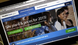 In this Nov. 12, 2014, file photo, the HealthCare.gov website, where people can buy health insurance, on a laptop screen, is seen in Portland, Ore. If the latest health overhaul case before the Supreme Court gets decided the way most Republicans want, it could have a politically painful unintended consequence for GOP lawmakers. (AP Photo/Don Ryan, File)