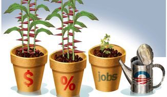 Illustration on Obama's failure to stimulate prosperity by Alexander Hunter/The Washington Times