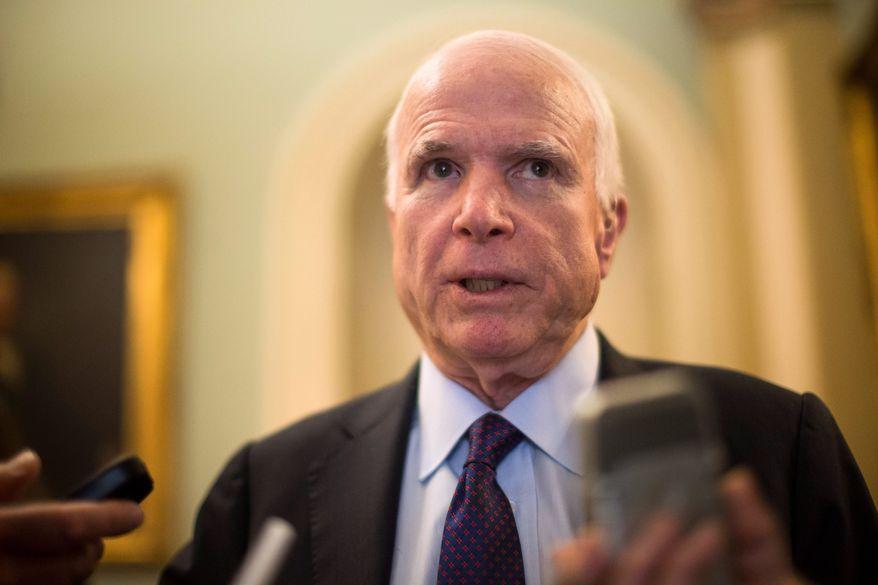 Sen. John McCain, Arizona Republican and chairman of the Senate Armed Services Committee. (Associated Press) ** FILE **