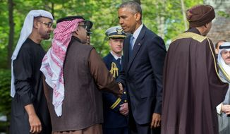 President Obama (center) bids farewell to leaders from six Gulf nations, who are trying to work through tensions sparked by the U.S. bid for a nuclear deal with Iran, a pursuit that has put regional partners on edge. Mr. Obama is seeking to reassure the Gulf leaders that the U.S. overtures to Iran will not come at the expense of commitments to their security. (Associated Press)
