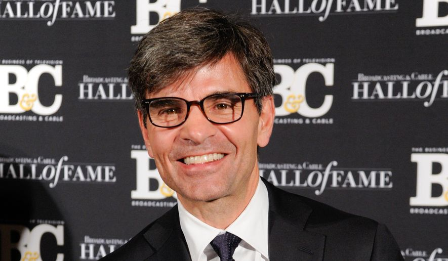 """FILE - This Oct. 20, 2014 file photo shows George Stephanopoulos at the 24th Annual Broadcasting and Cable Hall of Fame Awards in New York. Stephanopoulos has apologized for not notifying his employer and viewers about two contributions totaling $50,000 that he made to the Clinton Foundation. ABC's news division said Thursday, May 15, 2015, that """"we stand behind him."""" The donations, made in two installments in 2013 and 2014 and first reported in Politico, were made because of Stephanopoulos' interest in the foundation's work on global AIDS prevention and deforestation, he said. (Photo by Evan Agostini/Invision/AP, File) **FILE**"""