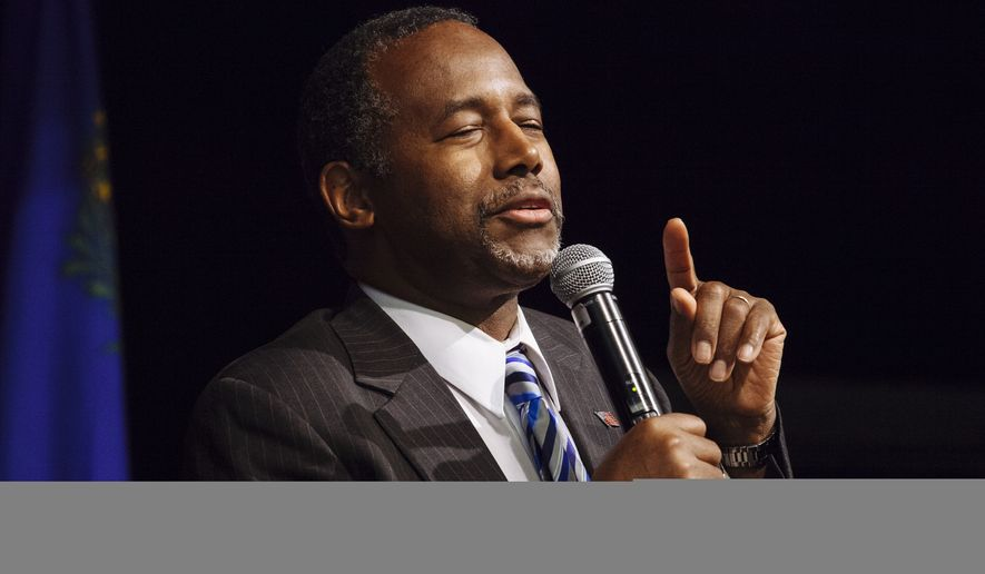 Dr. Ben Carson pauses for a moment while speaking at Opportunity Village, in Las Vegas, on Wednesday, May 13, 2015. (Associated Press) ** FILE **