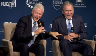 The legacies of Bill Clinton and George W. Bush loom large over the campaigns of HIllary Clinton and Jeb Bush. (Associated Press)