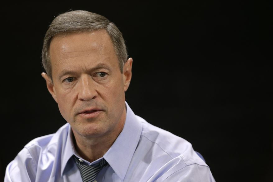 Martin O'Malley speaks with reporters during a roundtable interview at the Maryland State House in Annapolis, Jan. 16, 2015. (Associated Press) ** FILE **