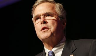 Former Florida Gov. Jeb Bush speaks at a Clark County Republican Party dinner Wednesday, May 13, 2015, in Las Vegas. (AP Photo/John Locher)