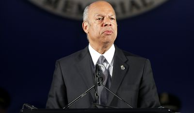 Secretary of the Department of Homeland Security Jeh Johnson speak during the National Law Enforcement Officers Memorial Fund's Annual Candlelight Vigil, Wednesday, May 13, 2015 in Washington. (AP Photo/Alex Brandon)