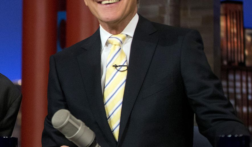 """FILE - In this May 4, 2015 file photo, host David Letterman smiles during a break at a taping of  """"The Late Show with David Letterman,"""" at the Ed Sullivan Theater in New York. After 33 years in late night and 22 years hosting CBS' """"Late Show,"""" Letterman will retire on May 20. (AP Photo/Pablo Martinez Monsivais, File)"""