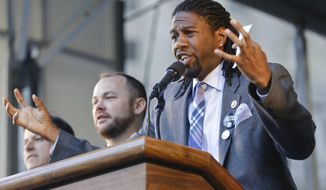 New York City councilman Jumaane Williams speaks to protestors and other pro-tenant activists at Foley Square to call on the state legislature to strengthen rent laws this year Thursday, May 14, 2015, in New York. (AP Photo/Frank Franklin II) ** FILE **