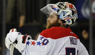 Washington Capitals goalie Braden Holtby (70) reacts after the New York Rangers scored a goal in the second period of Game 7 of the Eastern Conference semifinals during the NHL hockey Stanley Cup playoffs, Wednesday, May 13, 2015, in New York. (AP Photo/Kathy Willens)