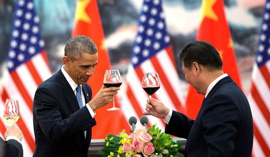 President Barack Obama offers a toast to President Xi Jinping of China during a State Banquet at the Great Hall of People in Beijing, China, Nov. 12, 2014. (Official White House Photo by Pete Souza)