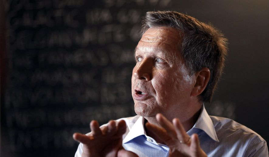 Republican Ohio Gov. John Kasich speaks to an audience at a restaurant in Nashua, N.H., on May 6, 2015. (Associated Press) **FILE**