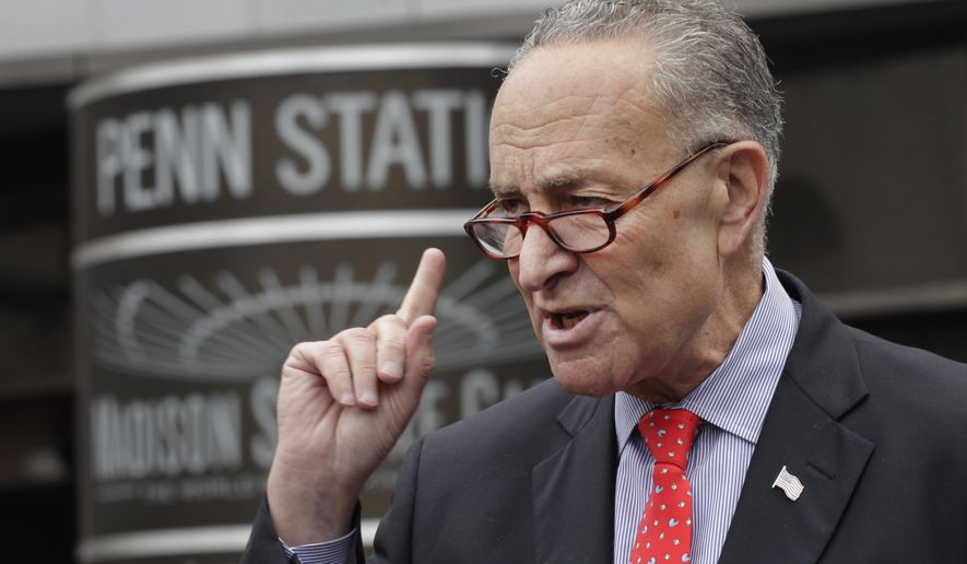 Sen. Charles Schumer, New York Democrat, speaks during a news conference outside New York's Penn Station on May 15, 2015. (Associated Press) **FILE**
