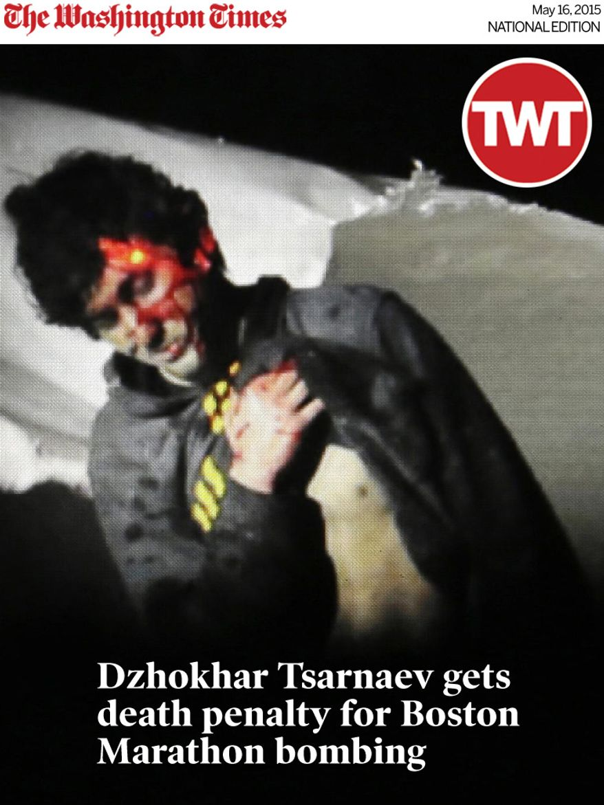 National Edition News cover for May 16, 2015 - Dzhokhar Tsarnaev gets death penalty for Boston Marathon bombing: In this photo provided by the Massachusetts State Police, Boston Marathon bombing suspect Dzhokhar Tsarnaev, bloody and disheveled with the red dot of a sniper's rifle laser sight on his head, emerges from a boat at the time of his capture by law enforcement authorities in Watertown, Mass., on April 19, 2013. (Associated Press/Massachusetts State Police, Sean Murphy) **FILE**