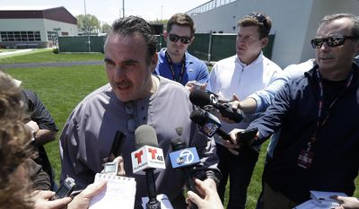San Francisco 49ers head coach Jim Tomsula speaks to reporters at a football rookie minicamp at an NFL facility in Santa Clara, Calif., Friday, May 15, 2015. (AP Photo/Jeff Chiu)