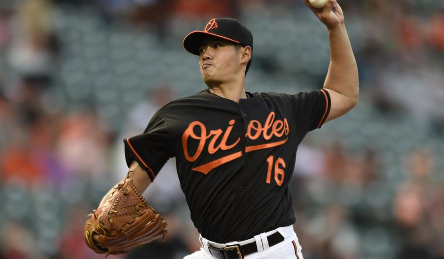 Baltimore Orioles starting pitcher Wei-Yin Chen delivers against the Los Angeles Angels in the first inning of a baseball game Friday, May 15, 2015 in Baltimore. (AP Photo/Gail Burton)