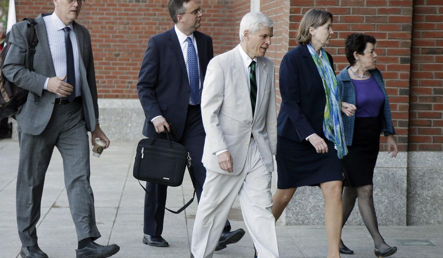 Members of the legal defense team for convicted Boston Marathon bomber Dzhokhar Tsarnaev, from the left, Timothy Watkins, William Fick, David Bruck, Judy Clarke, and Miriam Conrad arrive at federal court Thursday, May 14, 2015, in Boston. Jurors continue deliberations Thursday to determine the fate of Tsarnaev: life in prison or the death penalty. (AP Photo/Steven Senne)