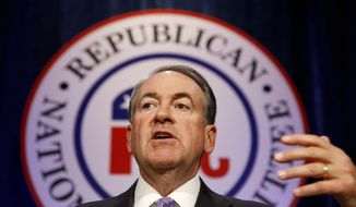 Republican presidential candidate and former Arkansas Gov. Mike Huckabee speaks at the Republican National Committee spring meeting luncheon in Scottsdale, Ariz., on May 15, 2015. (Associated Press) **FILE**