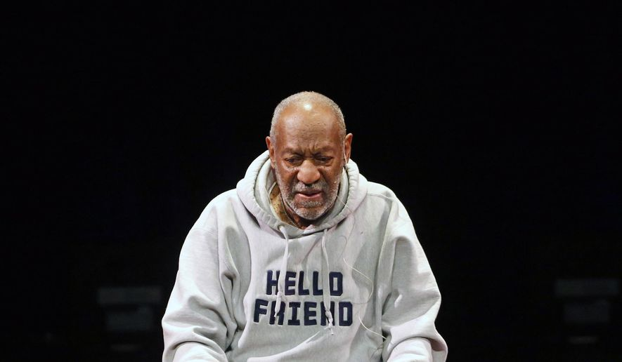 FILE - In this Jan. 17, 2015 file photo, Comedian Bill Cosby performs at the Buell Theater in Denver.  Cosby says people should separate what he has to say about social issues from sexual assault allegations lodged against him. In the taped interview that aired Friday, May 15, Cosby was asked what he would say if a young person pressed him about allegations that he drugged and sexually assaulted a number of women over a period of decades. Cosby said he would ask if the person wanted to be concerned about the message or the messenger.(AP Photo/Brennan Linsley)