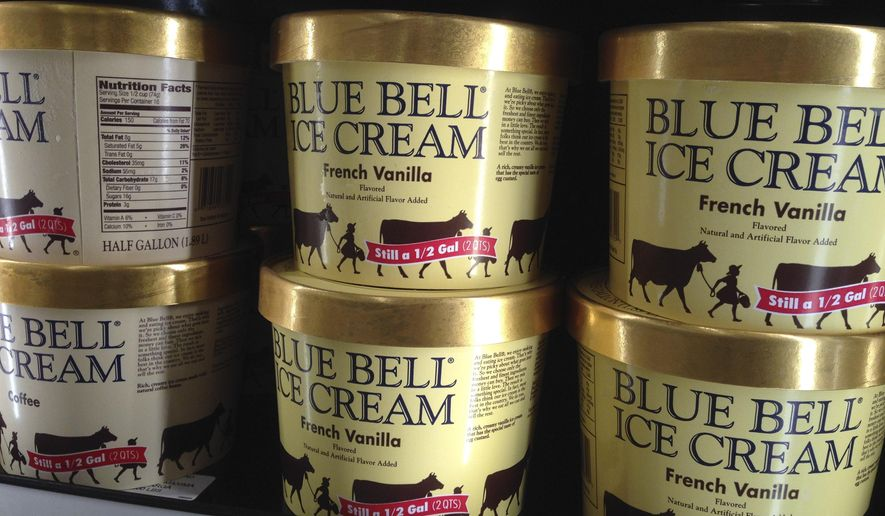 FILE - In this April 10, 2015, file photo, Blue Bell ice cream rests on a grocery store shelf in Lawrence, Kan. Blue Bell Creameries will lay off more than a third of its workforce following a series of listeria illnesses linked to its ice cream that prompted a nationwide recall, the Texas company announced Friday, May 15, 12015. (AP Photo/Orlin Wagner, File)