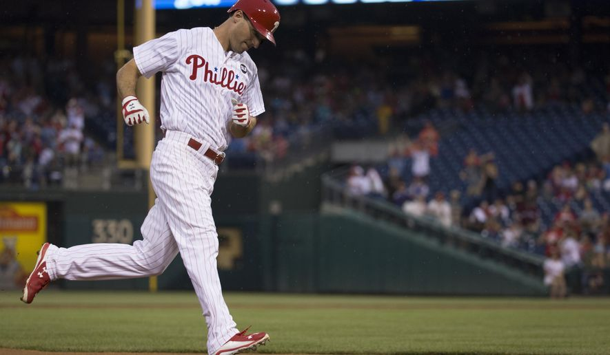 Philadelphia Phillies' Jeff Francoeur rounds third base after hitting a solo home run during the second inning of a baseball game against the Arizona Diamondbacks, Saturday, May 16, 2015, in Philadelphia. (AP Photo/Chris Szagola)