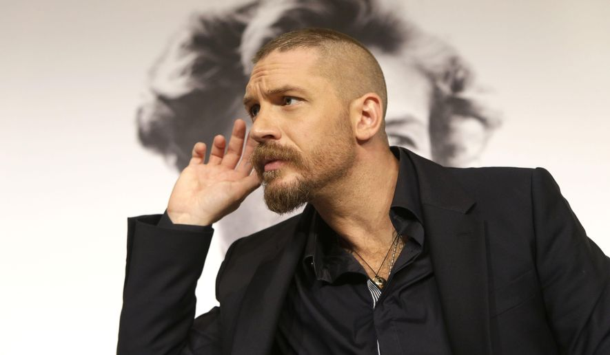 Actor Tom Hardy during a press conference for the film Mad Max: Fury Road at the 68th international film festival, Cannes, southern France, Thursday, May 14, 2015. (AP Photo/Lionel Cironneau)