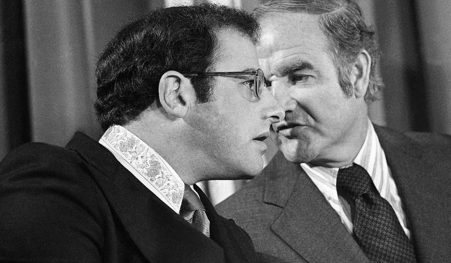 FILE - In this Spet. 28, 1972 file photo, Yonkers, N.Y. Mayor Alfred DelBello, left, talks to Democratic presidential candidate Sen. George McGovern during a meeting of Mayors for McGovern-Shriver in Washington. DelBello, who also served as Westchester County Executive and Lt. Governor, died on Friday, May 15, 2015. He was 80 years old. (AP Photo/Bob Daugherty, File)