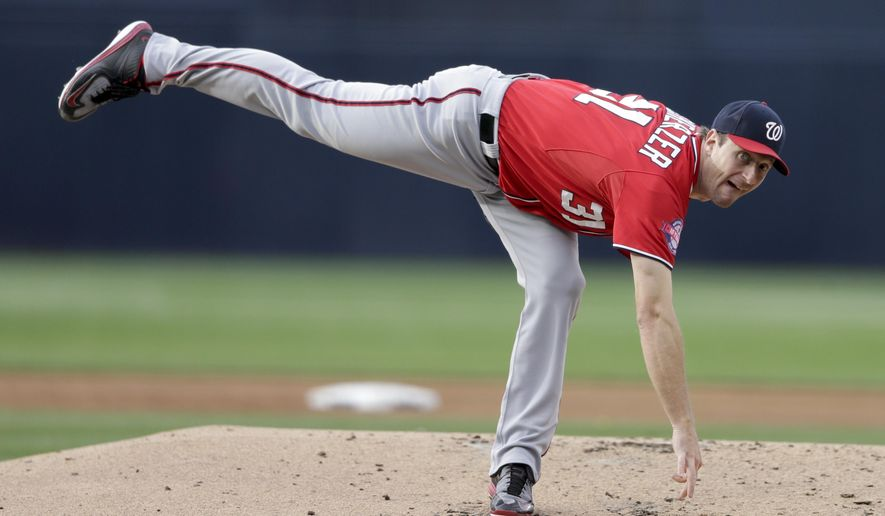 Washington Nationals starting pitcher Max Scherzer throws to a San Diego Padres batter during the first inning of a baseball game Saturday, May 16, 2015, in San Diego. (AP Photo/Gregory Bull)