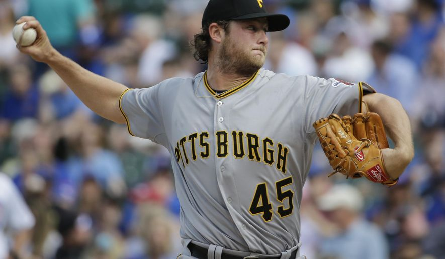 Pittsburgh Pirates starter Gerrit Cole throws against the Chicago Cubs during the first inning of a baseball game Saturday, May 16, 2015, in Chicago. (AP Photo/Nam Y. Huh)