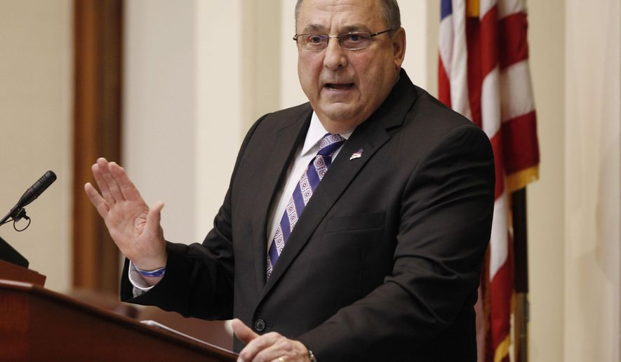 FILE - In this Feb. 3, 2015 file photo, Gov. Paul LePage delivers his State of the State address to the Legislature at the Statehouse in Augusta, Maine. Just months after beginning drug testing for some welfare recipients, the LePage administration wants to dramatically expand drug tests for those with felony drug convictions to include food stamp program. The administration also wants to require drug tests for those who fail a drug screening questionnaire. A public hearing is scheduled for Monday, May 18. (AP Photo/Joel Page)