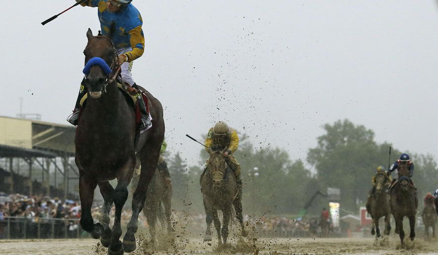 Jockey Victor Espinoza, left, celebrates aboard American Pharoah after winning the 140th Preakness Stakes horse race at Pimlico Race Course, Saturday, May 16, 2015, in Baltimore.  (AP Photo/Matt Slocum)