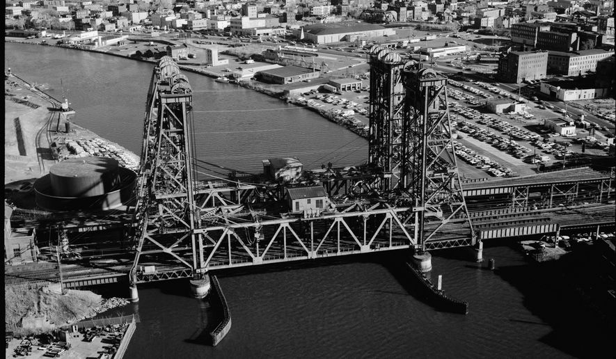 This circa 1968 photo made available by the Library of Congress shows the Dock Bridge over the Passaic River in Newark, N.J. along the Northeast Railroad Corridor. The rails of the Northeast Corridor are decaying, increasingly strained, and moving more people than ever around the nation's most densely populated region. (Library of Congress via AP)
