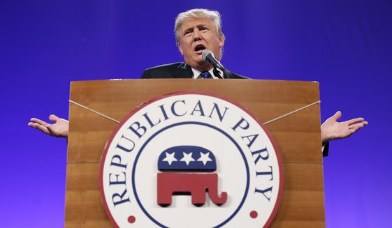 Donald Trump speaks during the Iowa Republican Party's Lincoln Dinner, Saturday, May 16, 2015, in Des Moines, Iowa. (AP Photo/Charlie Neibergall) ** FILE **