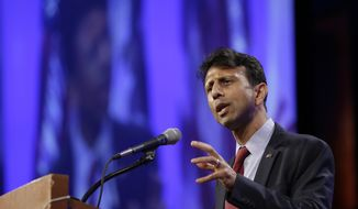 Louisiana Gov. Bobby Jindal speaks during the Iowa Republican Party's Lincoln Dinner, Saturday, May 16, 2015, in Des Moines, Iowa. (AP Photo/Charlie Neibergall)
