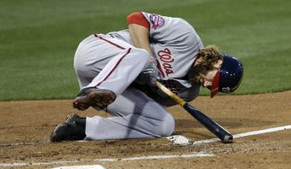 Washington Nationals' Jayson Werth falls after being hit by a pitch while playing against the San Diego Padres during the second inning in a baseball game Friday, May 15, 2015, in San Diego. (AP Photo/Gregory Bull)